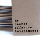 Financial gift - Funny MOLESKINE® journal with brown handprinted cover; For businessmen, businesswomen, layers and corrupts. Or as a laugh!