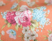Antique Flower Oxford Cotton Fabric - Orange - By the Yard 86334