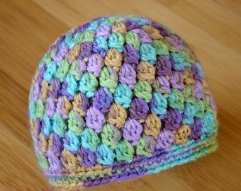 Baby Girl Hat, Infant Girl Hat, Newborn to 3 Months Beanie, Baby Beanie, Baby Girl Beanie, Purple & Green Beanie, Baby Hat, Baby Beanie