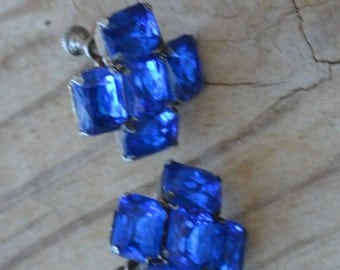 Lovely antique edwardian art deco sterling silver earrings with sapphire blue glass crystals / WJWQOP