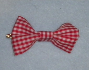 Clip-In Hair Bow | Red & White Gingham