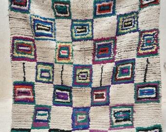 "RIVIERA TOWN 6' x 5'5"" Boucherouite Rug. Tapis Moroccan. Teppich Berber. Mid Century Modern Danish Design Compliment."