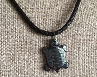 Turtle Pendant Braided Leather Necklace, Surfers Gift,  Beach Wedding Jewelry, Animal lover present