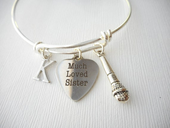Wedding Gift Sister How Much : Much Loved Sister, Microphone- Initial Bangle/ Wedding gift, sisters ...