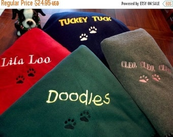 ON SALE Personalized Dog or Cat Blankets- Large size for you and your pet to snuggle, or for large size dog