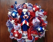 Uncle Sam with The American Flag  Patriotic Wreath