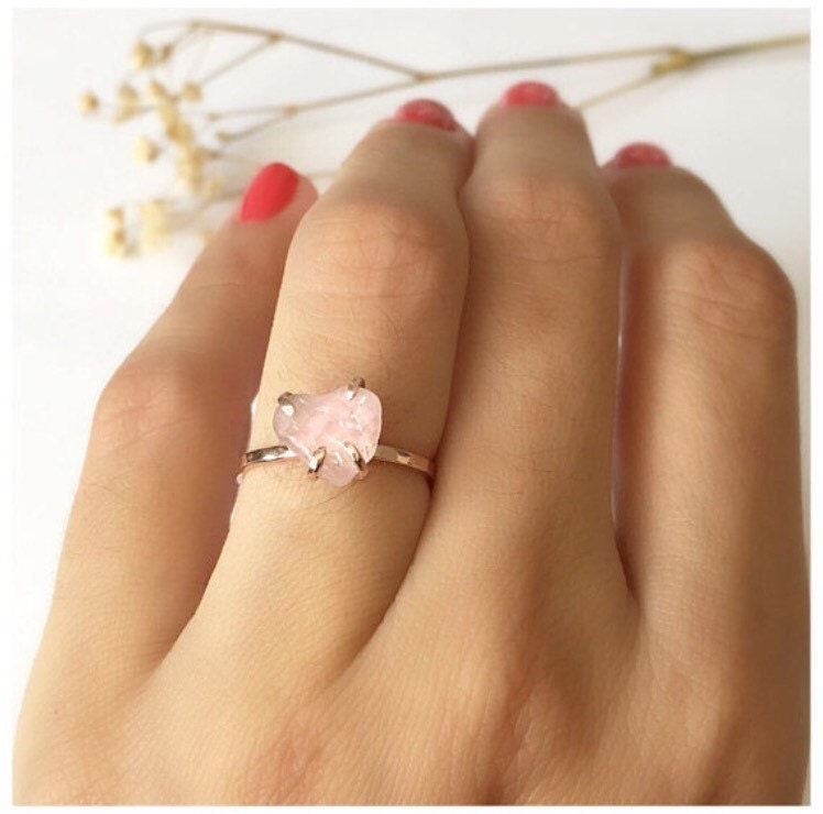 Rose Quartz Ring Engagement Ring Rose Quartz Jewelry Dainty