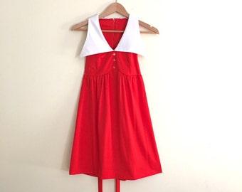 Vintage Contrast Collar Scooter Dress / Red Orange Mini Dolly Dress / Mod Babydoll Dress / Retro / 1960s