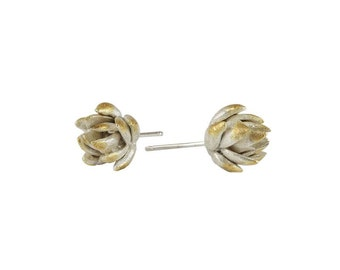Gold Plated Artichoke Studs. Sterling Silver Stud.