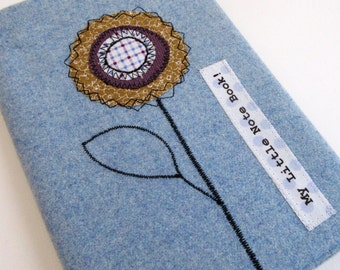 Pale Blue Wool appliqued Covered Notebook