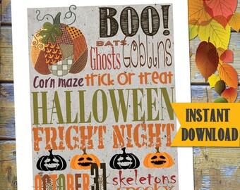 Halloween Printable / Instant Download SUBWAY Art / DESIGN miniPOSTERS / DIY Printable / #HalloweenPrintable #Halloween