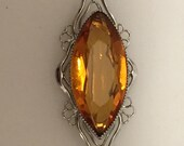 ART DECO Openwork Brooch Faceted AMBER Glass Stone 1930s Vintage