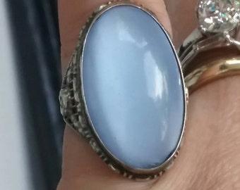 Antique Chalcedony Glass Ring,Antique Art Nouveau Period Ring, Uncas Ring