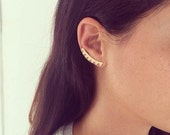 SALE Valentines day Ear climbers, 24 K gold plated pair of ear crawlers, gold stud earrings