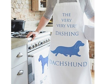 Dachshund Kitchen Apron - Dachshund Gifts - Sausage Dog Art - Baking Apron - Work Apron - Kitchen Gifts - Baking Gift - Gifts for Dog Lovers