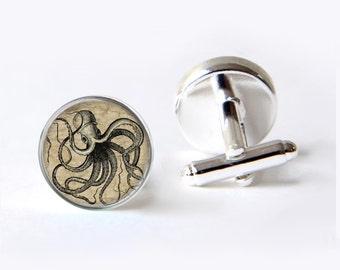 Octopus Cufflinks,  Steampunk Cufflinks, Nautical Cufflinks