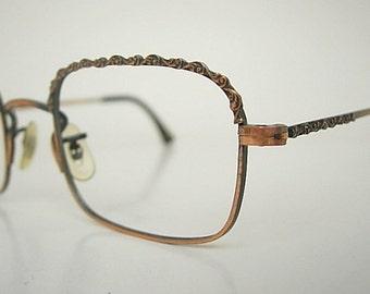 Art Craft NOS 1/20 12K GF Copper Color Wire Metal Rectangular Vintage Eyeglass Frames Scrollwork Front & Temples New Old Stock LARGER Fit