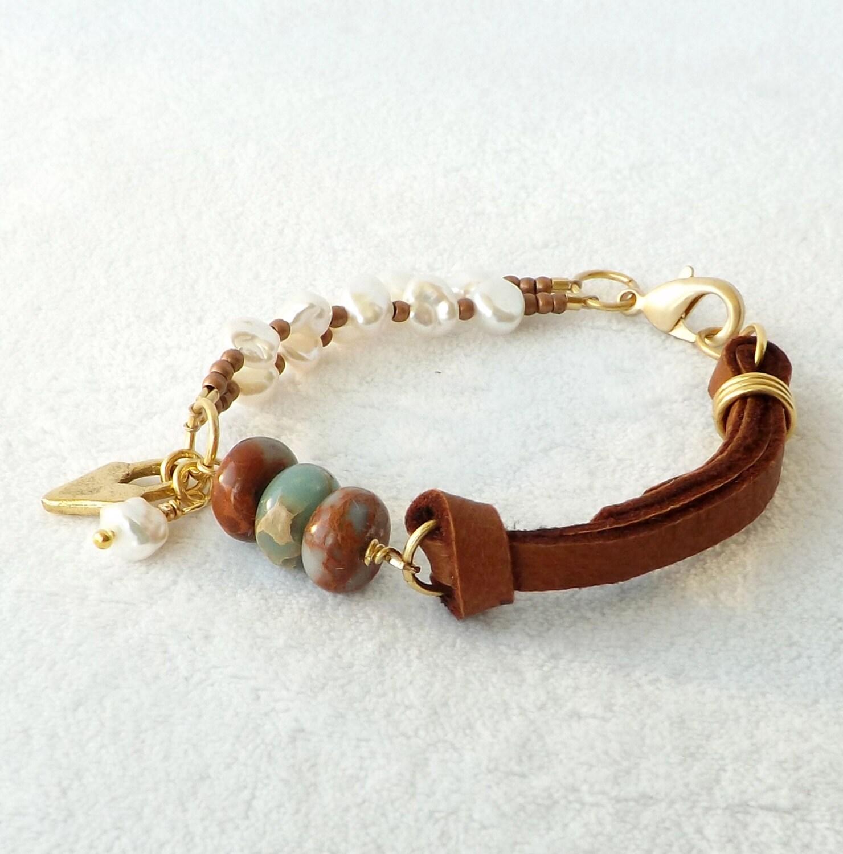 leather pearl bracelet sundance style southwestern jewelry. Black Bedroom Furniture Sets. Home Design Ideas