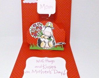 Pop Up Mother's day card, Funny Cow Card, I love you the mostest, card from child to mother
