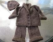 Baby boy's dark brown tweed sweater, hat, and pants