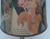 Medium 1953 & 1963 Magazine Love Stories Lampshade - Lamp Shade for Base or Ceiling