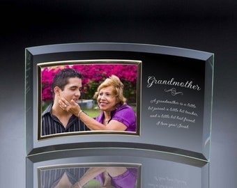 Engraved Curved Glass Photo Frame for Grandmother
