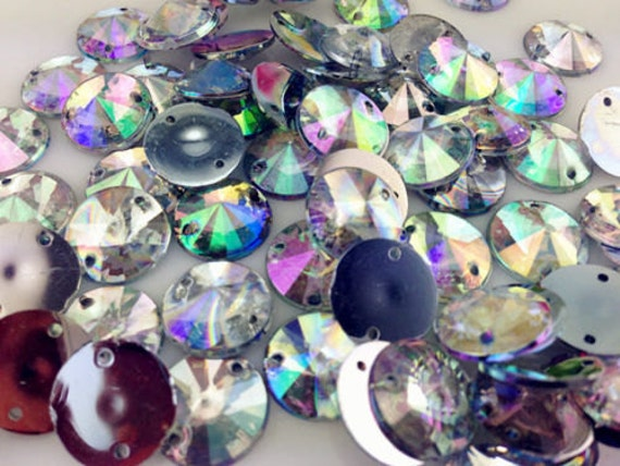 Crystal AB Round Flat Back Pointed Sew On Rivoli Resin Rhinestones Embellishment Gems C12