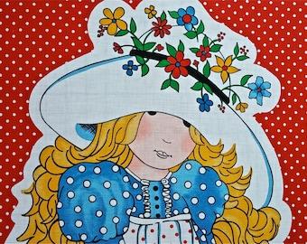 """Vintage Hollie Hobbie Fabric Panel 1 yd x 44"""""""