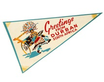Vintage 1960s RARE Durban Pennant Flag, Travel Memorabilia Collectible Souvenir, South Africa Color pennant, Vintage African colorful banner
