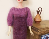 Barbie clothes - three-quarter sleeve purple sparkly dress