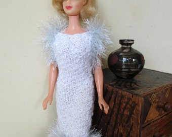 Barbie clothes - white and silver sparkly wedding dress