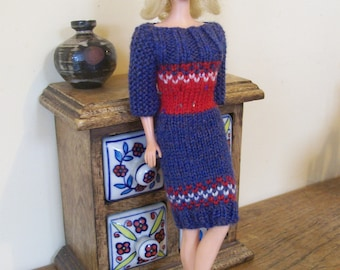 Barbie clothes - blue, red and white dress with three-quarter sleeves