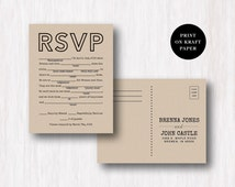 Mad Libs Wedding RSVP Postcard - Double Sided Respond Card - Old Fashioned Style - Printable DIY
