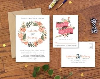 Wedding Invitation Printable & RSVP Card - Botanical Bohemian Wedding Invitation Vintage - Floral Wedding Invitation