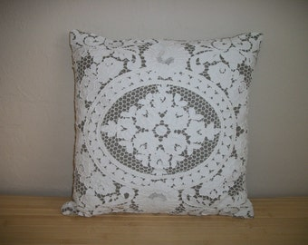 "Throw Pillow Home Decor Linen and Lace Pillow. Flax colored European Linen Off-white Repurposed Lace. 14""x14"" Poly Insert incl. Handmade USA"