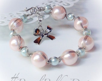 Silver Pearl Bracelet Pastel Wire Wrapped Bow Cuff