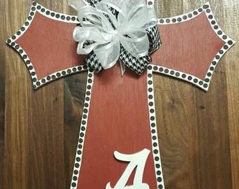 ALABAMA Crimson Tide Cross Door Hanger, Roll Tide, Bama, SEC with Houndstooth and Burlap Bow, Wooden Cross