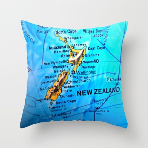 Australia Map Pillow Cover New Zealand Map by VintageBeachMaps