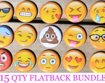 EMOJI PARTY FAVOR assorted variety of 1 inch buttons you choose : zipper pulls, keychains, flatback or pin backs
