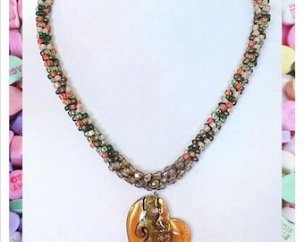 Valentine's Day - Kumihimo Amber Heart Necklace