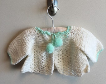 Vintage crocheted baby sweater (0-3 Month size)