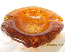 Heavy Vintage Amber Art Glass Ashtray Blenko? Mid Century Art Glass