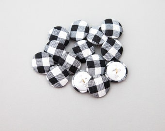 """12 Vintage 7/8"""" Fabric Covered Shank Buttons. Black, White and Grey Checked Design. Silver Metal Back and Shank Loop. Item 3791FC"""