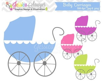 80% OFF - INSTANT DOWNLOAD,  Baby carriage clipart - baby shower clip art - card making - digital scrapboking - invitation design