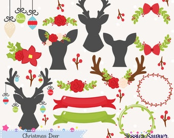 INSTANT DOWNLOAD - Christmas Deer Clipart and Christmas Vectors for personal and commercial use