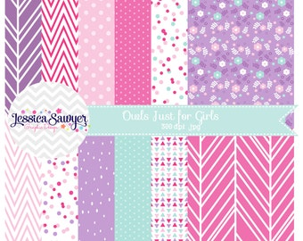 INSTANT DOWNLOAD, pink and aqua digital papers or pink and purple backgrounds