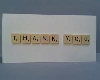 THANK YOU Letter Tile Card, Can be Personalised with a name.