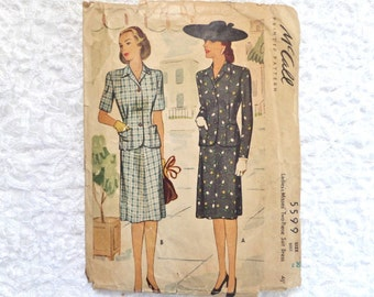 Vintage McCall Suit Pattern 5599 Size 20 1944 Jacket and Skirt