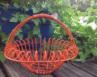 French Country Scrolled  Iron Basket - Orange Metal Table Top Basket - Cottage Chic