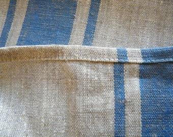 2 Natural Linen Hand / Face Towels  - Blue Stripe- Pure Flax- Bathroom Linens - Handtuch.